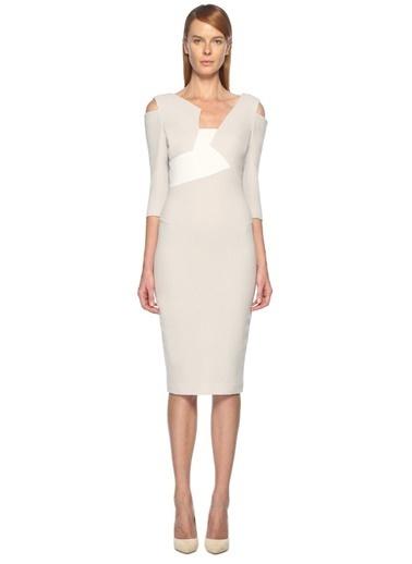 Roland Mouret Kokteyl Elbise Beyaz